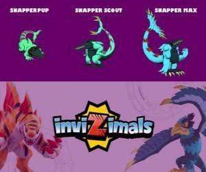 Puzzle de Snapper en sus tres fases Snapper Pup, Snapper Scout y Snapper Max, de Invizimals