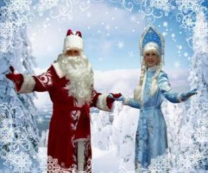 Puzzle de Snegúrochka o la Doncella de Nieve y  Ded Moroz o el Abuelo Frío, personajes tradicionales navideños