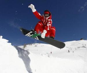 Puzzle de Snowboarder realizando una pirueta