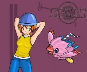 Puzzle de Sora jugando con su digimon Biyomon o Piyomon. Sora Takenouchi es la más responsable y madura del grupo