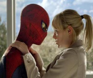 Puzzle de Spider-Man o Hombre Araña junto a Gwen Stacy