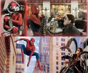 Puzzle de Spiderman luchando contra el villano Doctor Octopus o Doctor Pulpo, uno de sus mayores enemigos