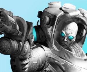 Puzzle de Sr. Frío, Mr. Freeze con su pistola de frío. El malvado científico es un enemigo de Batman