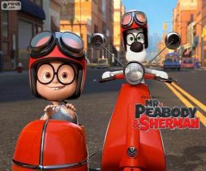 Puzzle de Sr. Peabody y Sherman en la motocicleta con sidecar
