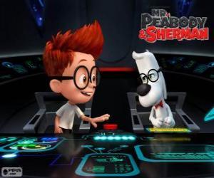 Puzzle de Sr. Peabody y Sherman en su máquina del tiempo