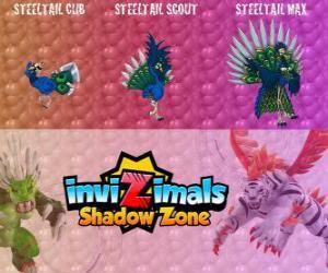 Puzzle de Steeltail Max. Invizimals La otra dimensión. Espectacular pájaro, su cola es una potente arma hecha de plumas de acero