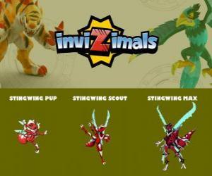 Puzzle de Stingwing en sus tres fases Stingwing Pup, Stingwing Scout y Stingwing Max, de Invizimals