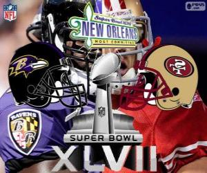 Puzzle de Super Bowl 2013. San Francisco 49ers vs. Baltimore Ravens. Superdome, Nueva Orleans
