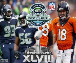 Puzzle de Super Bowl 2014. Seattle Seahawks vs Denver Broncos. MetLife Stadium, Nueva Jersey, 2 de febrero de 2014