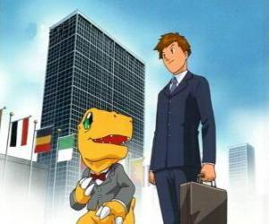 Puzzle de Tai y Agumon van a trabajar