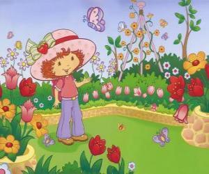 Puzzle de Tarta de Fresa o Rosita Fresita observando la naturaleza