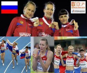Puzzle de Tatiana Firova campeona en 400 m, Xenia Ustalova y Antonina Krivoshapka (2ª y 3era) de los Campeonatos de Europa de atletismo Barcelona 2010