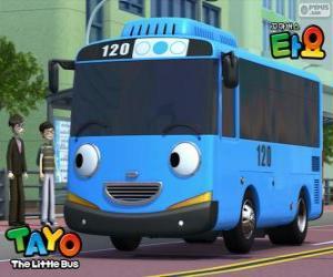 Puzzle de TAYO un autobús de color azul alegre y optimista