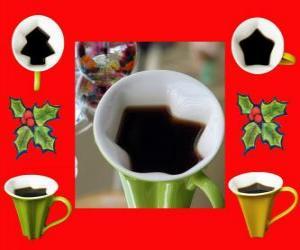 Puzzle de tazas de café, con formas navideñas