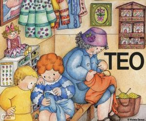 Puzzle de Teo aprende a coser