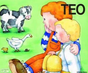 Puzzle de Teo y su hermana Clara con animales