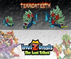 Puzzle de Terrorteeth, última evolución. Invizimals Las Tribus Perdidas. Invizimal acuático que come rápido y lo muerde todo