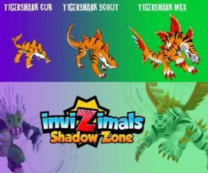 Puzzle de Tigershark Cub, Tigershark Scout, Tigershark Max. Invizimals La otra dimensión. Guerreros de leyenda en la India y Sri Lanka