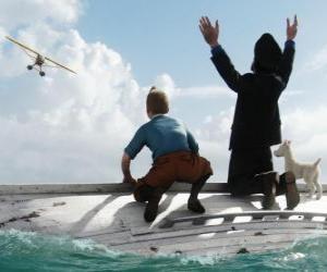 Puzzle de Tintín, el Capitán Haddock y Milú sobre de un bote tras naufragar