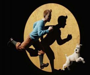 Puzzle de Tintín y su perro Milú corriendo