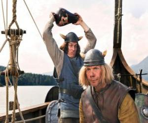 Puzzle de Tjure a punto de romper un jarrón en la cabeza de Snorre