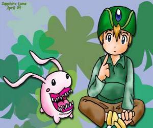 Puzzle de TK con su digimon Tokomon, Takeru Takaishi es el más joven del grupo y hermano menor de Matt