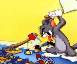Puzzle de Tom intentado atrapar al ratón Jerry