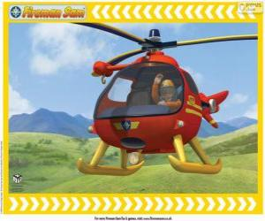 Puzzle de Tom Thomas con su helicóptero Wallaby One