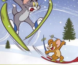Puzzle de Tom y Jerry en la nieve con los esquíes