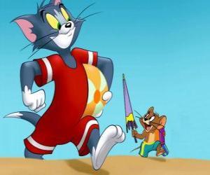Puzzle de Tom y Jerry en la playa