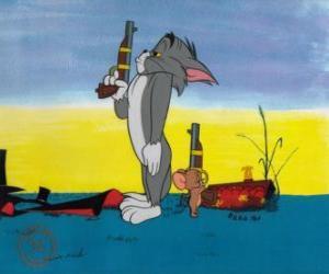 Puzzle de Tom y Jerry en un duelo