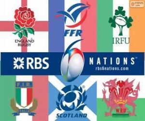 Puzzle de Torneo de las Seis Naciones de rugby con los participantes: Francia, Escocia, Inglaterra, Gales, Irlanda e Italia