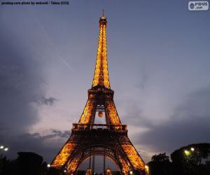 Puzzle de Torre Eiffel de noche