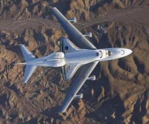 Puzzle de Transbordador espacial Endevor llevado a bordo de un 747