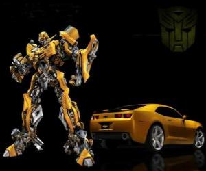 Puzzle de Transformer, el coche y el robot en el que se transforma