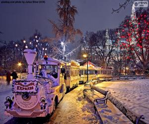 Puzzle de Tren de mercado de Navidad