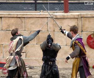 Puzzle de Tres caballeros luchando