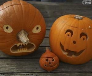 Puzzle de Tres calabazas de Halloween
