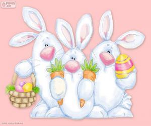 Puzzle de Tres conejos de Pascua