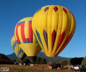 Puzzle de Tres globos preparados para volar