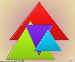 Puzzle de Triángulo equilátero, polígono regular de tres lados iguales