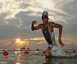 Puzzle de Triatleta en la parte de la natación
