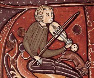 Puzzle de Trovador o juglar, poeta cantautor o artista del entretenimiento de la Edad Media en Europa