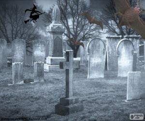 Puzzle de Tumbas cementerio, Halloween