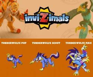 Puzzle de Tunderwulfe en sus tres fases Tunderwulfe Pup, Tunderwulfe Scout y Tunderwulfe Max, de Invizimals