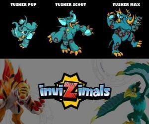 Puzzle de Tusker en sus tres fases Tusker Pup, Tusker Scout y Tusker Max, de Invizimals