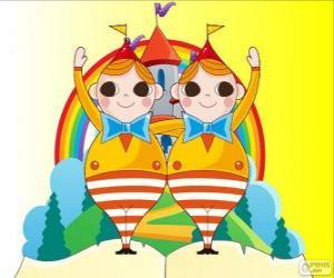 Puzzle de Tweedledum y Tweedledee, dos jóvenes gemelos