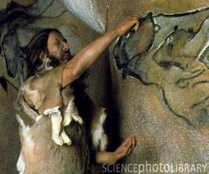 Puzzle de Un artista prehistorico realizando una pintura rupestre representando un búfalo en la pared de una cueva mientras un dinosaurio lo observa desde el exterior de la caverna
