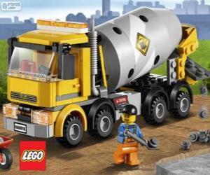 Puzzle de Un camión hormigonera y un trabajador de la construcción, Lego City