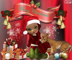 Puzzle de Un elfo felicitando la Navidad